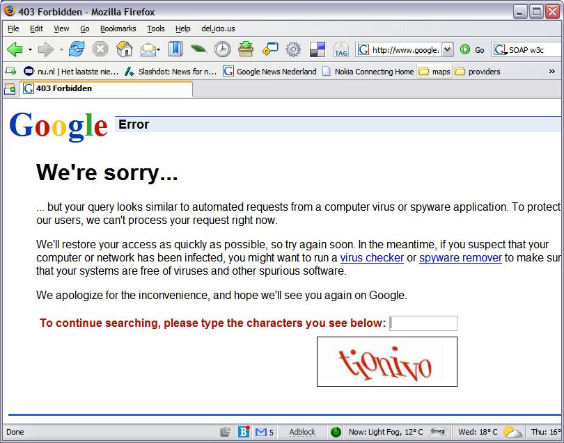 403 error from google